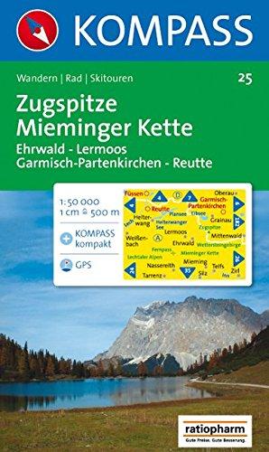 Zugspitze, Mieminger Kette: Ehrwald, Lermoos, Garmisch, Reutte. Wander-, Rad- und Skitourenkarte. GPS-genau. 1:50.000