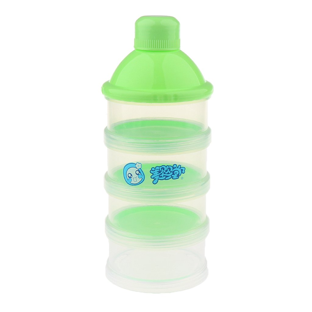 Jili Online Baby Food Bottle - Storage Container - 4 Layers Non-Spill Baby Milk Powder Dispenser (Pink Blue Green) - Green, as described