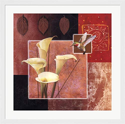 Calla Lily/Butterfly by Tan Chun Framed Art Print Wall Picture, Flat White Frame, 33 x 33 inches ()