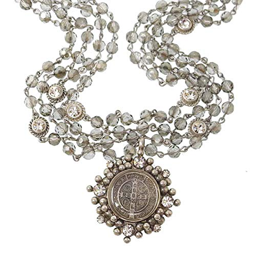 VSA - Virgins Saints & Angels San Benito Cloister Magdalena Necklace in Silver Black Diamond