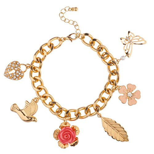 Lux Dove Pave Heart Lock Flower Rose Bird Butterfly Leaf Floral Charm Bracelet (Butterfly Pave Charm)