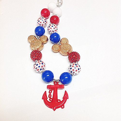 Girls, Toddler, Baby Bubblegum Necklace Cruise With Mickey Red White Blue Star Pearls Golden Mickey Head Red Anchor Rhinestone Girls chunky bubblegum patriotic necklace