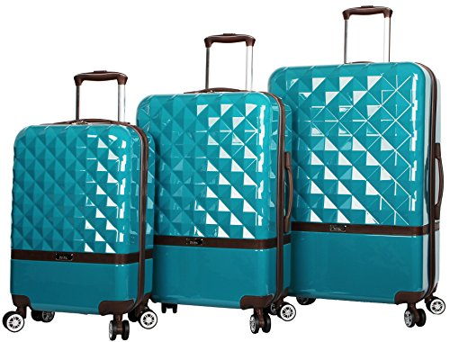 Nicole Miller New York Madison Collection Hardside 3-Piece Spinner Luggage Set: 28', 24', and 20' (Peacock)