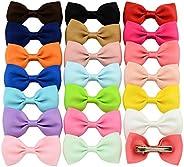 Girl Baby Ribbon Hair Bow Clips Barrettes, 20 Pcs Mini Hair Bows Mixed Color for Baby Girl