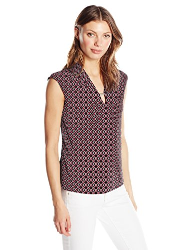 Jones New York Women's Xtend SLV Print VNK Bar Tr Solid Bk Top, GERANIM Combo, L