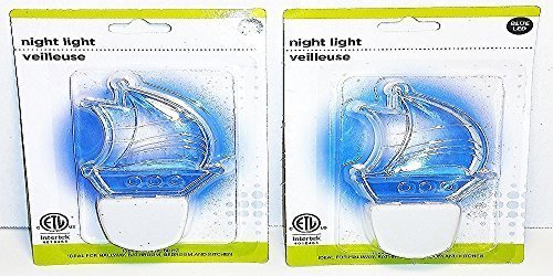 (Pack of 2) Clear Multi-room Blue LED Night Light Nautical Sail Boat