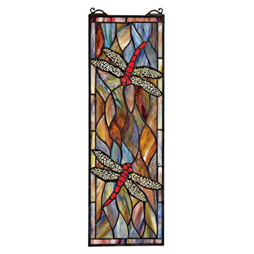 (Design Toscano Dragonfly Stained Glass Window Hanging Panel, 21 Inch, Smokey Blue)