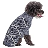 Cheap Blueberry Pet 2 Patterns Dog Sweater with Blue and White Diamond Pattern, Back Length 20″, Pack of 1 Clothes for Dogs