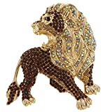 EVER FAITH Roaring King Lion Brown Austrian Crystal Brooch Gold-Tone