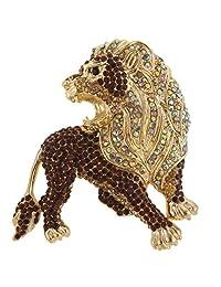 Ever Faith Roaring Lion Austrian Crystal Pendant Brooch