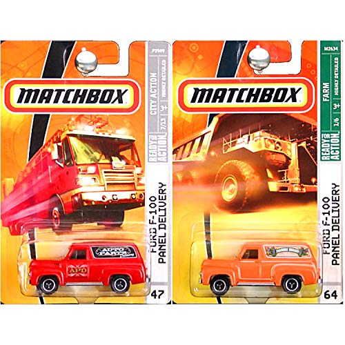 (Matchbox Ford F100 F-100 Panel Delivery Truck Van Auto Parts Farmers Market Red Orange Set of)