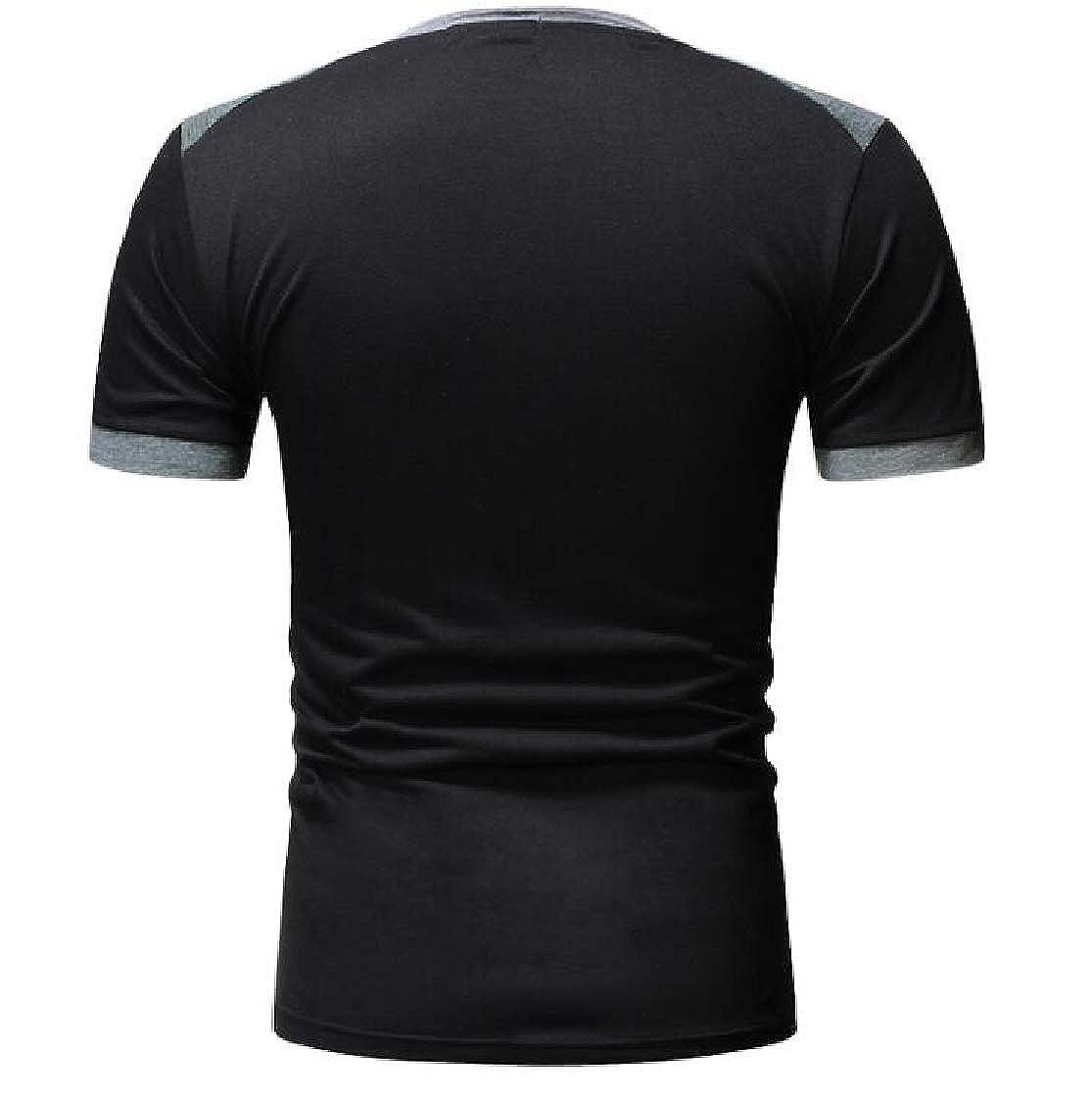 Nanquan Men Color Block Short Sleeve Basic Crewneck Slim T-Shirt Tee