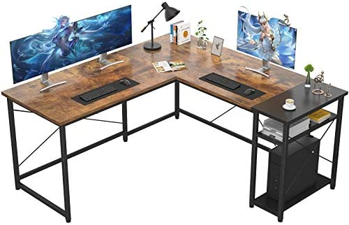 Ecoprsio L-Shaped Desk Large L Shaped Gaming Desk with Storage Shelves Industrial Corner Desk Writing Study Table for Home Office Gaming Workstation, Rustic Brown and Black