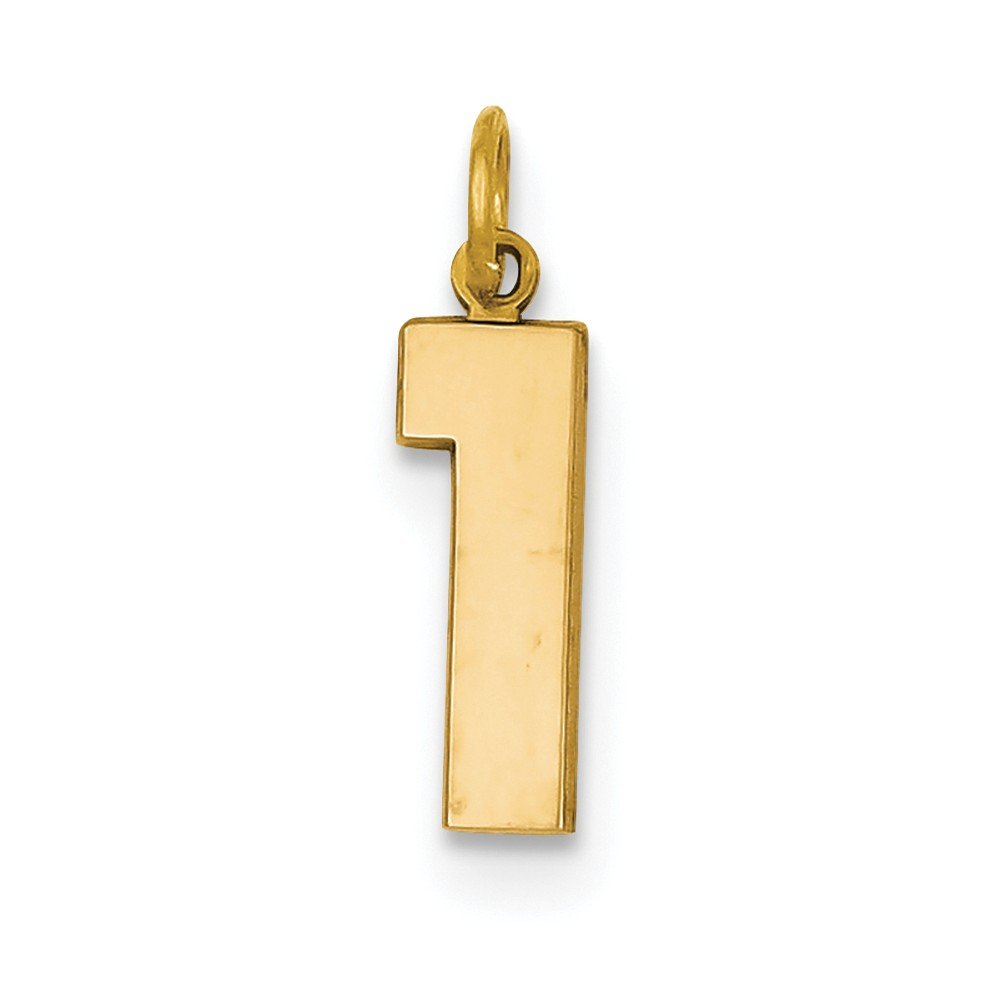 0.87 in x 0.2 in 14K Goldy Casted Medium Polished Number 1 Charm Pendant