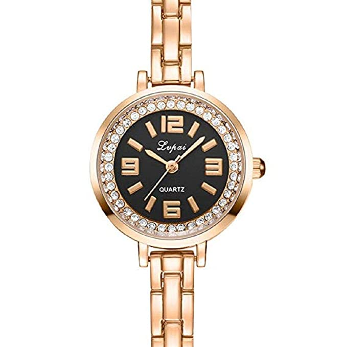Amazon.com: Women Quartz Watches, Windoson Big Female Watches Crystal Diamond Lady Watches Stainless Steel Watch Girl Watches New (Gold+Black): Electronics