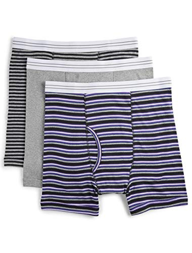Harbor Bay by DXL Big and Tall 3-Pack Assorted Boxer Briefs (1X, Grey Stripe)
