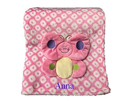 Personalizado Bordado Rosa manta para bebé/Wrap con un diseño de mariposas