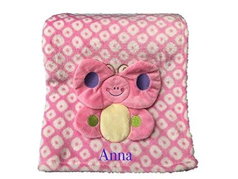 Personalizado Bordado Rosa manta para bebé/Wrap con un diseño de mariposas: Amazon.es: Bebé