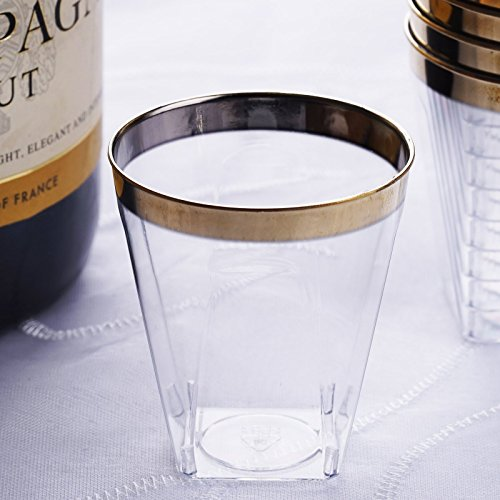 Efavormart 60 Pack Gold Rimmed 2oz Chambury Plastic Disposable Shot Glass for Wedding Catering Birthday Party Banquet Events]()