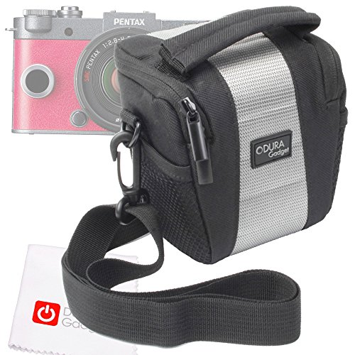 DURAGADGET Top Loading Digital Camera Case With Shoulder Fastening & Belt Loop + BONUS Cleaning Cloth For Canon Powershot S200, Pentax Q7, Pentax Q-S1 & Sony W800 Compact Cameras