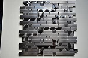 STAINLESS STEEL STRIPS WALL MOSAIC TILE OR BACKSPLASH MOSAIC TILE in Anodized Black Color