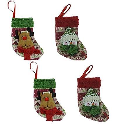 Viva-Haushaltswaren – 4 pequeñas de calcetines de Navidad/nikolausstrümpfe con alce de/