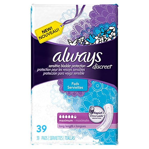 Always Discreet, Incontinence Pads, Maximum, Long Length, 39 Count
