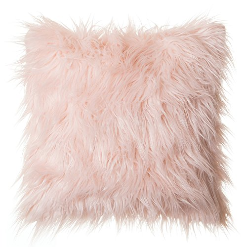 "Faux Fur Throw Pillow 18""x18"" , Mongolian Long Hair Pink"