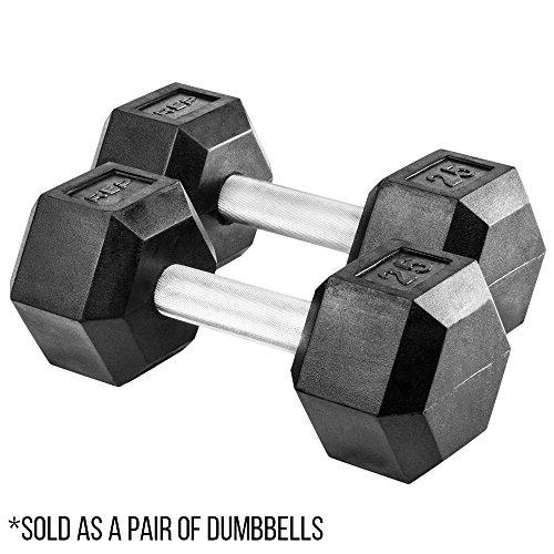 Rep Rubber Hex Dumbbells, 25 lb Pair