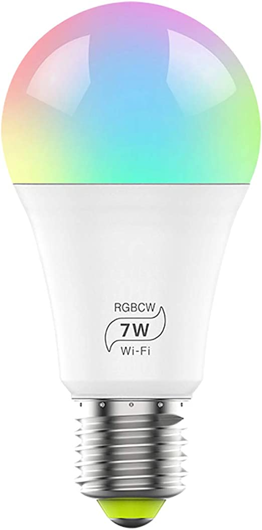 Bombilla inteligente WiFi, regulable, multicolor, bombilla LED E27 ...