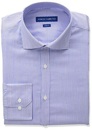 Sateen Stripe Cotton Dress Shirt - Vince Camuto Men's Slim Fit Spread Collar Dress Shirt, Blue Pinstripe, 14.5 32/33