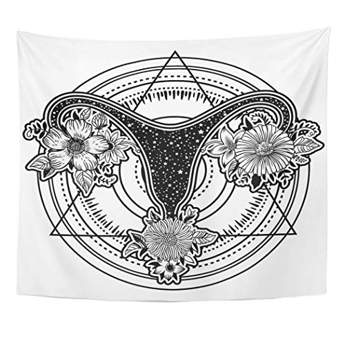 Emvency Tapestry Artwork Wall Hanging Beautiful Female Reproductive Organs with Flowers Uterus Womb Major Sex and My Body 50x60 Inches Tapestries Mattress Tablecloth Curtain Home Decor -