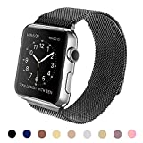 Vteyes Milanese Magnetic Closure Clasp Bracelet Metal Band for Apple Watch Sport Edition (42mm Black)