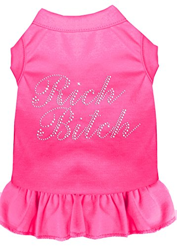 Mirage Pet Products 57-20 SMBPK Pink Rhinestone Rich Bitch Dress Bright, Small