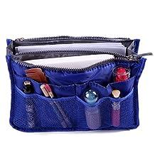 HDE Expandable 13 Pocket Handbag Insert Purse Organizer with Handles (Dark Blue)