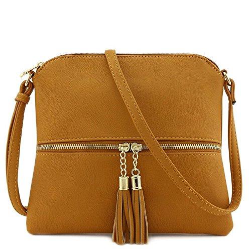 Lightweight Medium Crossbody Bag with Tassel Mustard