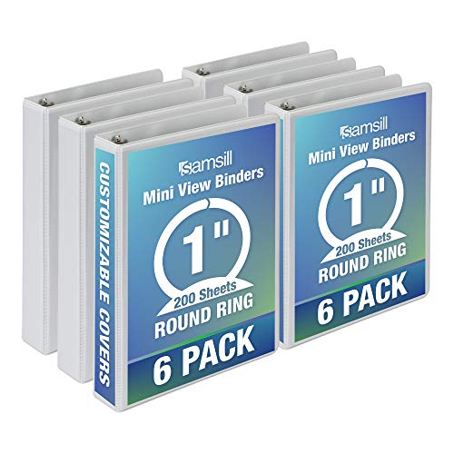 Samsill 3 Ring Mini View Binders, 1 Inch Round Ring, Customizable Clear View Cover, Junior Size 5.5 x 8.5 Inch, White, 6 Pack