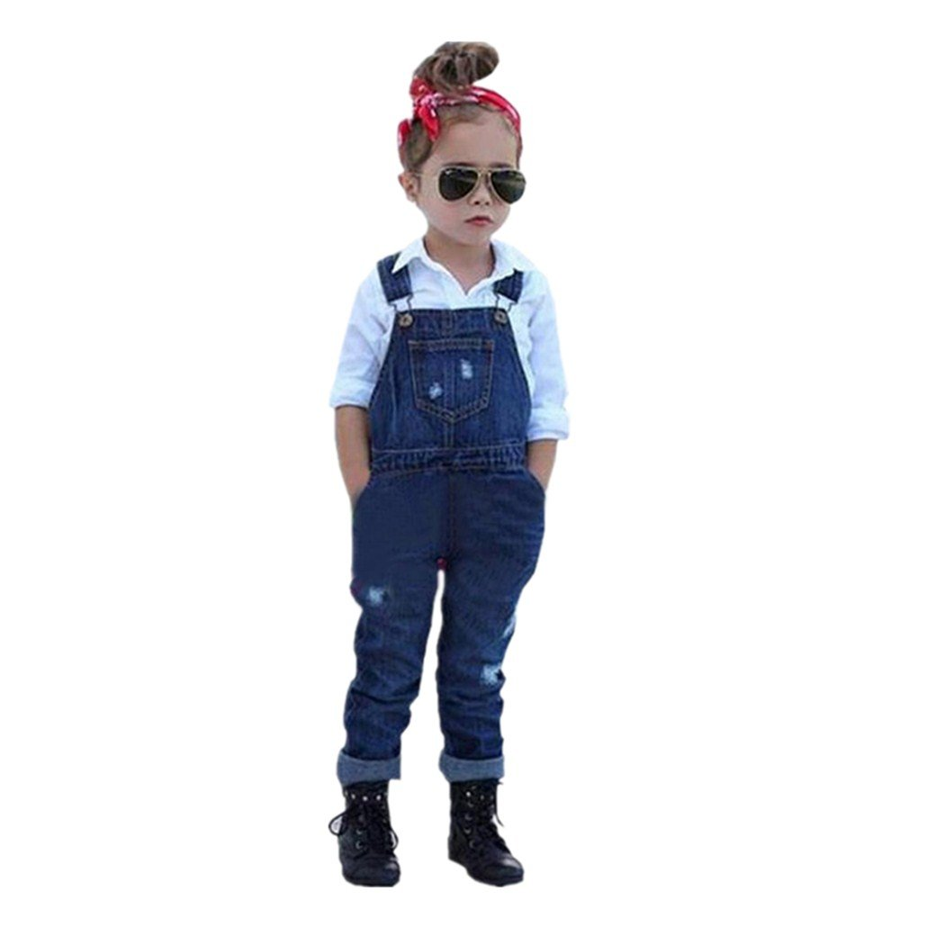 Clode® For 2-8 Years Old, Fashion Kids Baby Girls White Blouse Tops and Denim Romper Long Pants Set 2PCS Summer Outfits Clode-CL-51232