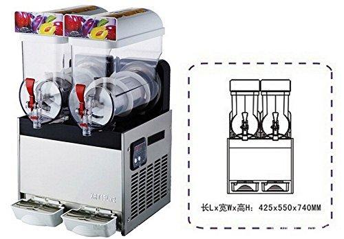 JIAWANSHUN 15L×2 Commercial Double tank Frozen Drink Slush Slushy Making Machine Smoothie Maker 220V-240V 700W (Maker Ice Cream 240v)