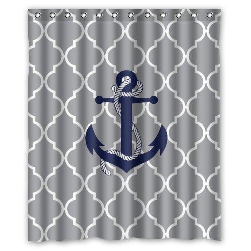 60widthx72lengthGrey-Quatrefoil-with-Blue-Anchor-Custom-Shower-Curtain-60-x-72