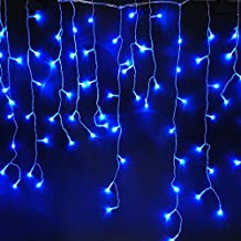 CORST 4M(W) x 0.52M(H) Waterproof 120led Bal Shape Curtain Light, LED Fairy Light With 8 mode for Indoor Outdoor Festival Decoration Blue