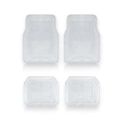Vaygway All Weather Floor Mats-Universal 4 Piece Car Interior- Rubber Clear Car Plastic Rug- Heavy Duty Weather Protection Mats: Automotive