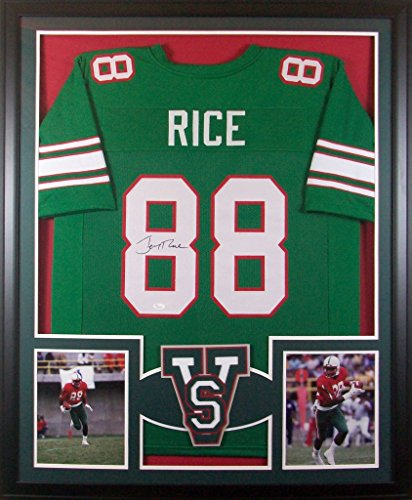 (Jerry Rice Mississippi Valley State Delta Devils Signed Autograph Custom Framed Jersey Green 2 Pic JSA Witnessed Certified)