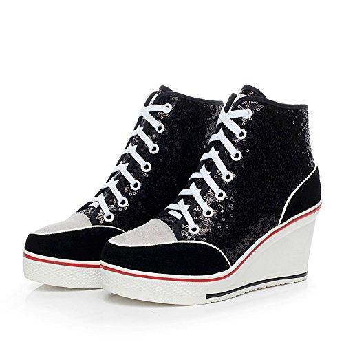 Paillette Sneakers Mode Casuel Chaussures Toile Baskets Compensées Blanc Tennis Femme tqwdSaS