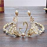 KathShop Baroque Handmade Gold Pearl Crystal Animal Flower Crown Tiaras for Women Vintage Tiaras Bride Wedding Hair Jewelry