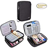 """Teamoy Travel Makeup Brush Bag(up to 8.8""""), Professional Cosmetic Artist Organizer Case with Handle, Compact and multifunctional-Medium, Black"""