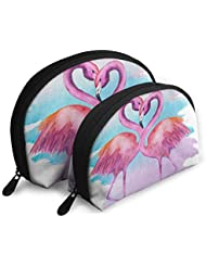 Makeup Bag Valentine's Day Flamingo Bird Watercolor Handy Half Moon Cosmetic Bags Organizer For Women
