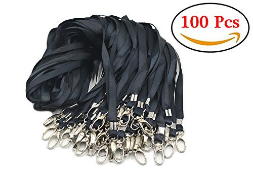 Aobear 100pcs 32 inch Top Quality Black Lanyard with Badge Clip by Aobear