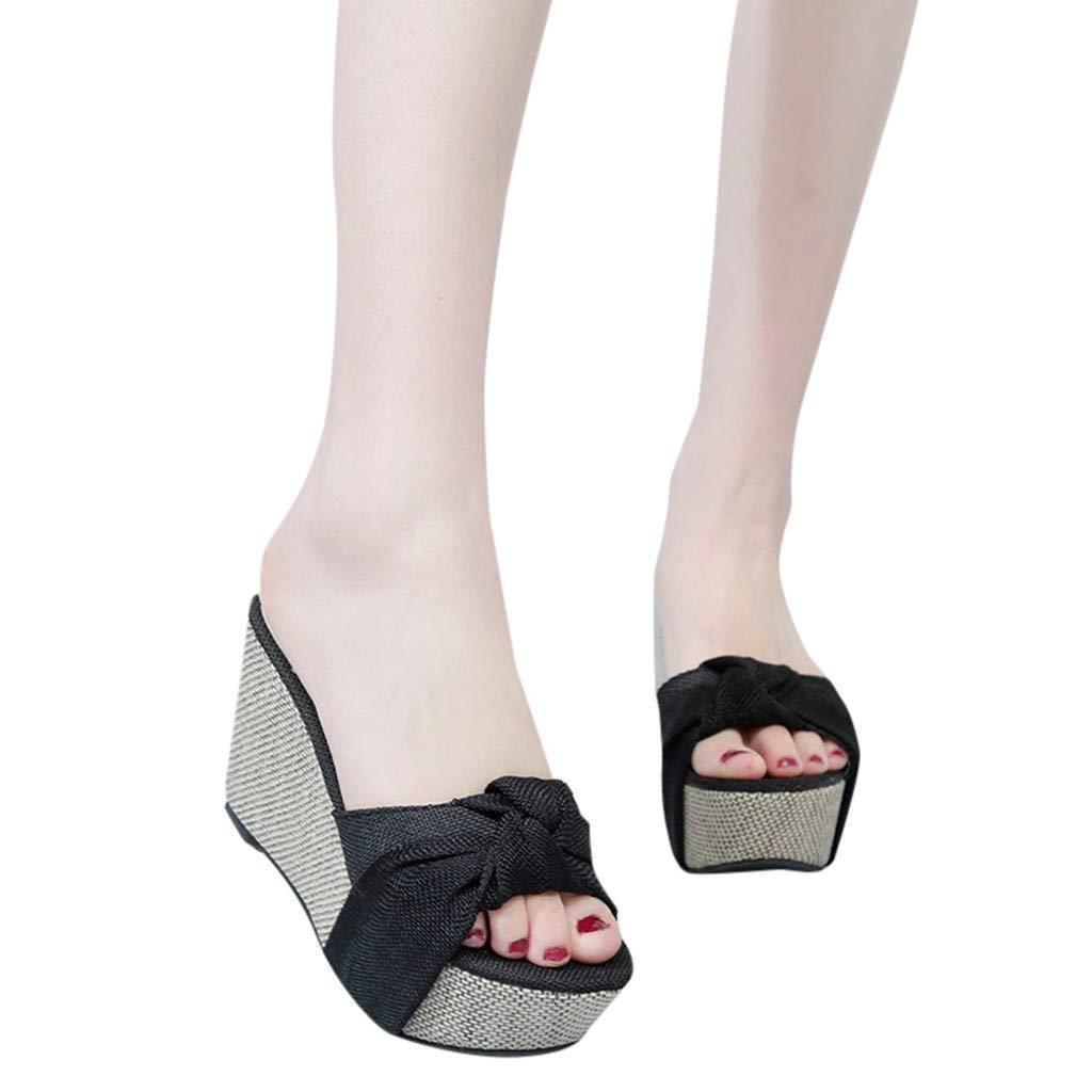 Women Casual Wedge Summer Slip-On High Heel Platform Peep Toe Shoes Bow Sandals