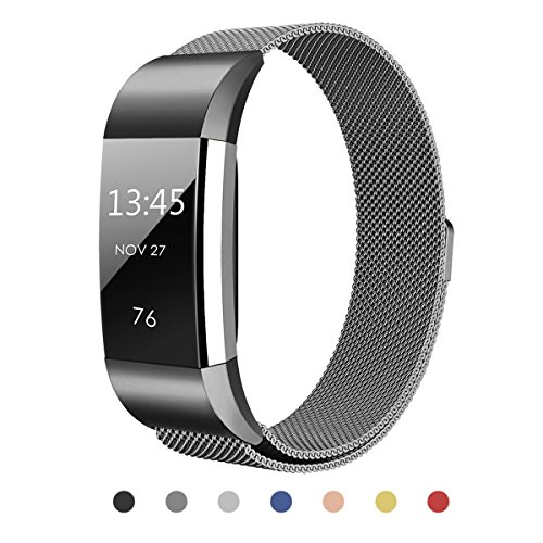 Hanlesi Band for Fitbit Charge 2 , Stainless Steel Bracelet Fitness Accessory Wristband for Fitbit Charge2